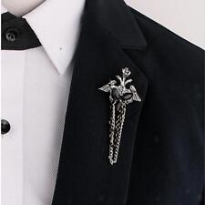 Gótico punky de aleación de cadena negro Lucite borla broche de broche de