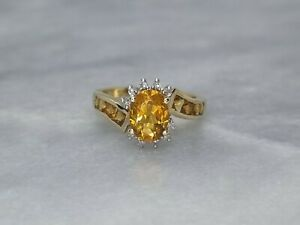 Beautiful Solid 9ct Yellow Gold Cluster Ring Oval Princess Citrine Diamond - K