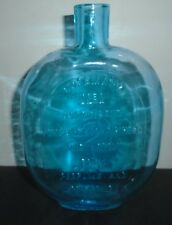 VINTAGE 1980'S CLEVENGER REPRODUCTION ROSEMARY BOTTLE AQUA BLUE 7.5 TALL