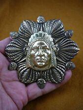 (B-NATIVE-14) Native man Chief traditional HEADDRESS flower brass Pin Pendant