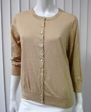 Banana Republic 3/4 Sleeve Polka Dot Cardigan Sweater Size L Large Sand