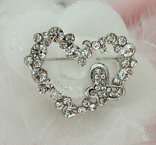 SILVER TONE HEART AND BUTTERFLY RHINESTONE CRYSTAL BROOCH