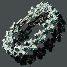 Rhinestone Glass Round Cut Green Emerald Tennis Statement Fashion Bracelet