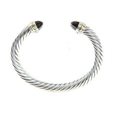 DAVID YURMAN Cable Classic Bracelet with Black Onyx & 14K Gold 7mm $695 NEW