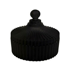CAROUSEL - LARGE BLACK RIBBED GLASS JAR WITH LID.