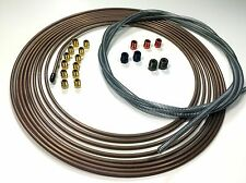 25 Ft Roll of 3/16 Copper Nickel Brake Line Roll With Fittings and 8 Ft of Armor