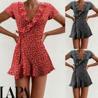 LAPA Womens Boho Floral Cute Ruffle Mini Dress Ladies Short Sleeve Beach Dresses