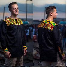 Kente & Black Cotton Men's Long Sleeve Shirt Men's African Clothing Men's Wear