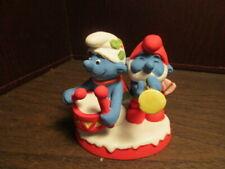Vintage Smurf Drummer & Horn Christmas Collectibles Ceramic Figurine 1982