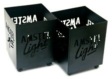 2 BRAND NEW AMSTEL LIGHT BEER BLACK METAL CUT OUT DESIGN TEALIGHT CANDLE HOLDERS