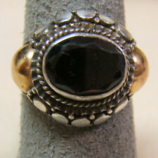 925 Sterling Silver and Gold Garnet Indonesian Style Ring Size 7.5- 7.75