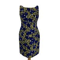 Hobbs Blue Green Floral Smart 100% Silk Shift Party Evening Pencil Dress Size 14