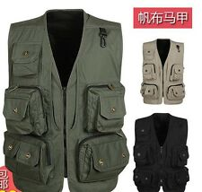 MULTI-POCKET photographer camera Outdoor Working Vest Fashoin Mens Vests Uk Size