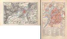 Metz U. environnement Sablon plan de la ville Vantoux Carte de 1896