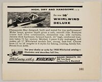 1958 Print Ad Whirlwind Deluxe 16' Wood Boat Molded Products Inc Cockeysville,MD
