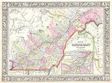 1864 MITCHELL Carte Québec, CANADA VINTAGE POSTER ART PRINT 2947py