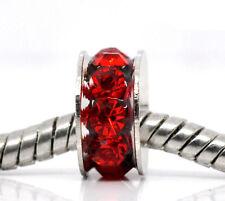 50 European Silberf. Rot Strass Spacer Perlen Beads