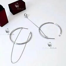 18k white gold plated round hoop asymmetric earrings ball studs 925 silver post
