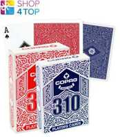 2 DECKS COPAG 310  POKER CARDS PAPER STANDARD INDEX 1 BLUE 1 RED NEW