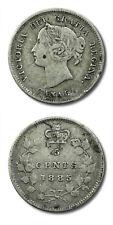 Canada Victoria Five Cents 1885 Fine KM-2