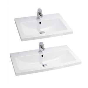 Waschtisch für Unterschrank Einbau Waschbecken mit Überlauf Weiß Keramik COMO