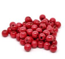 50 perles en bois 10mm couleur Rouge 10 mm  creation colier, attache tetine ...