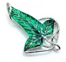 Lord of The Rings Elven Green Leaf Brooch Pendant With Chain/Clip Necklace