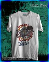 VINTAGE 80s JOHN COUGAR MELLENCAMP LONESOME JUBILEE BLACK ROCK WHITE T-SHIRT