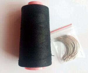 25 pcs C needle with 1 roll Black cotton thread weave thread hair weaving thread