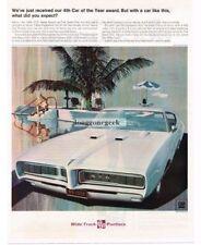 1968 Pontiac GTO White art by Art Fitzpatrick Van Kaufman Vtg Print Ad