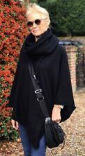 CASHMERE Poncho Black CAPE Wrap One Size,FREE UK Shipping,