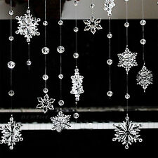 2pc 1M Acrylic Crystal Snowflake Bead Garland Wedding Christmas Decor Curtain