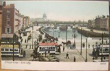Irish Postcard O'CONNELL BRIDGE to Loopline River Liffey Dublin Ireland Lawrence