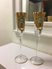 2 Beautiful glasses of champagne adorned with muranode venice Italy.