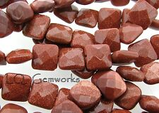 """15.5""""  Strand GOLDSTONE 10mm Faceted Square Beads"""