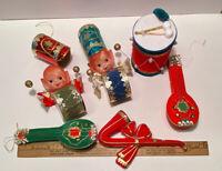 6 Vintage Christmas Ornaments Flocked Drummers Mandolins Saxophone Made in Japan
