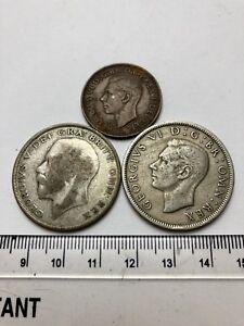x3 Old Coins: 1920 Half Crown, 1951 Half Crown, 1951 Half Penny (A620)