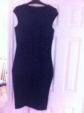 River Island Dress Size 12 Black Blue Body con Fitted Sexy
