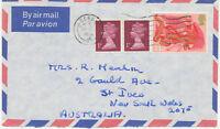 "GB 1975 Machin 1P 2B (2x) and Christmas 11 P air mail cover ""DERBY"" to AUSTRALIA"