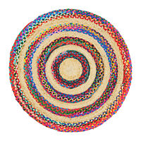 ⭐ Round Jute Multicoloured Beige Braided Stripe Area Rug Lounge 90cm 120cm 150cm