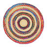 ⭐ Round Jute Multicoloured Beige Braided Stripe Area Rug Lounge 90cm 120cm 150cm
