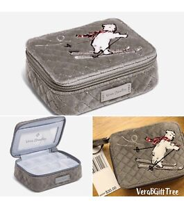 Vera Bradley Gray Iconic Velvet Pill Case Box Travel POLAR Bear MERRY BEARY NWT