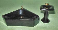 2 PIECE BLACK CORNER BATHROOM SET PORCELAIN #128 DOLLHOUSE FURNITURE  MINIATURES