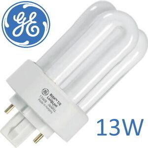 2x 13W GX24Q-1 4 Pin CFL PL-T Triple Turn Light Bulb 4000K  Lamp - GE BIAX