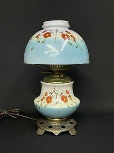 Antique c.1880-1900 Hand Painted GWTW Banquet Oil Lamp with Flowers Electrified