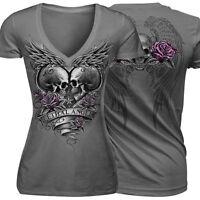 Womens Fashion Short Sleeves V-Neck Punk Style Skull Print Cotton T Shirt Tops B