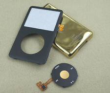 Black Front Case Gold Back Housing Cover Button for iPod 7th Classic Thin 160gb