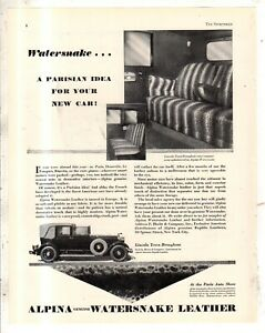 1929 Lincoln in Alpina Watersnake leather Original ad from the Sportsman - Rare