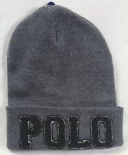 13030fe7c15 Polo Ralph Lauren Grey Raised Letter Cuff Beanie Hat Skull NWT