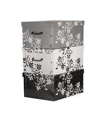 Aufbewahrungsbox 3er Set mit Deckel Stapelbox Deko Box Pappe Kiste Karton Blumen